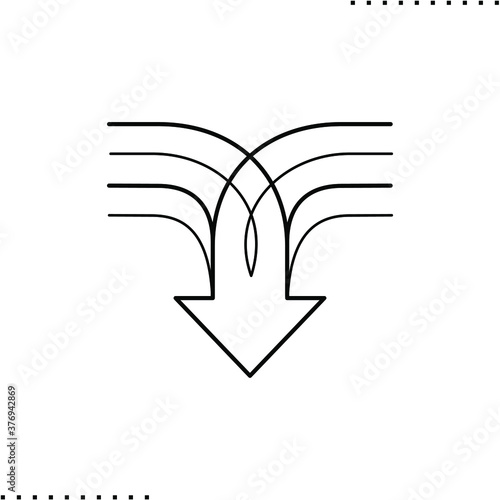Photo arrow down, merge vector icon in outline