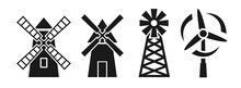 Windmill Silhouette Icon Vecto...