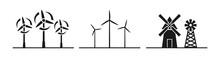 Windmill Silhouette Icon Vecto...