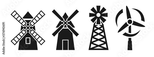 Windmill silhouette icon vector illustration on white background Fototapet