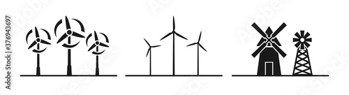 Fényképezés Windmill silhouette icon vector illustration on white background