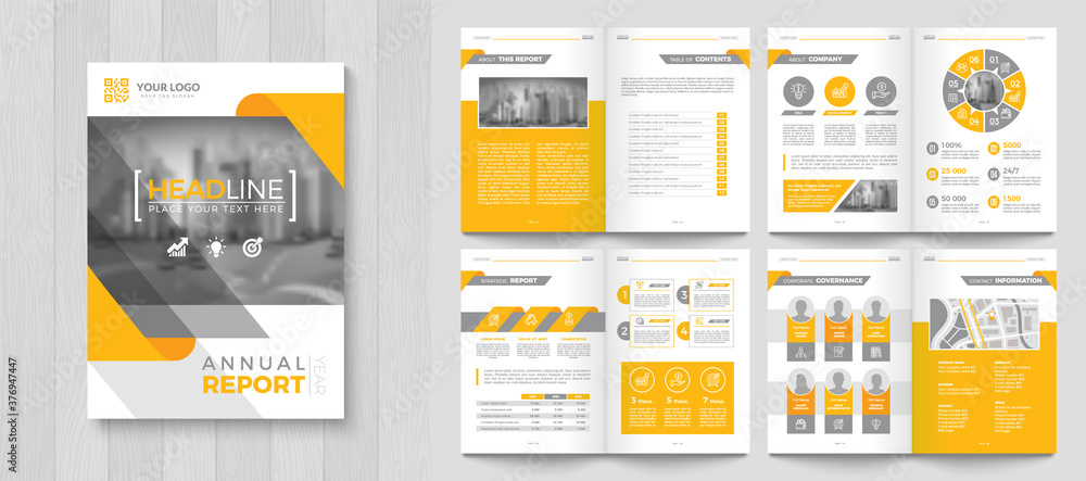 Fototapeta Corporate Annual Report with a cover. Brochure, Folder, Presentation, Leaflet. A4 format.