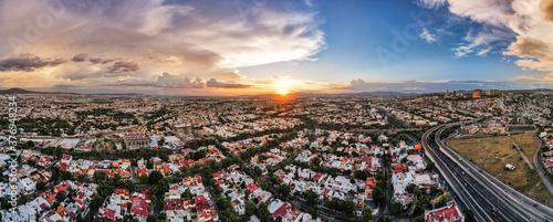 Fotografie, Obraz Sunset Aerial View from Querétaro, México
