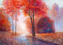 Rain In The Autumn Forest, Artistic Background