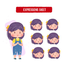 Cute Character Female Mouth Expressions Sheet Face Girl Concept Illustration