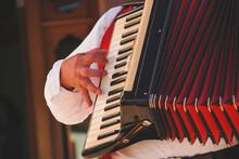 Man Playing Accordion At Oktoberfest In Gramado City, RS, Brazil