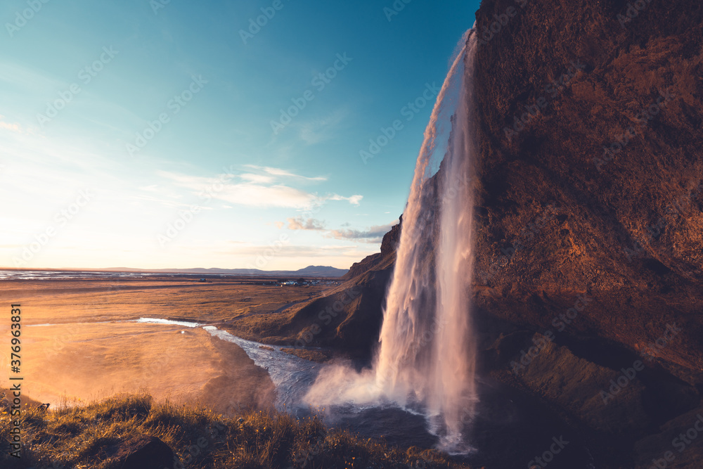 Fototapeta Seljalandfoss waterfall in sunset time, Iceland