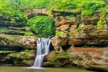 The Upper Falls And Bridge In Hocking Hills State Park, Ohio