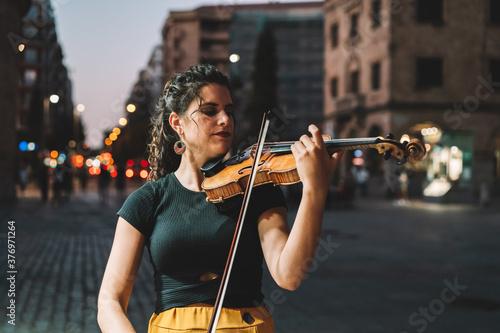 Fotografie, Obraz mujer calle violin