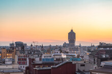 Skyline Of Milan With Torre Velasca At Sunset
