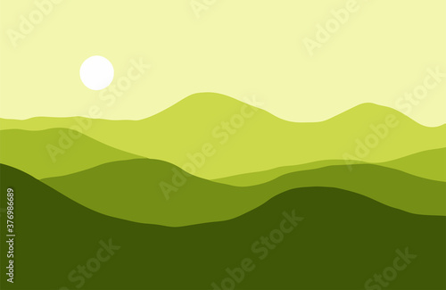 Mountains in the haze at sunset - Vector illustration Fototapet
