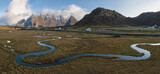 panoramic view of the mountains and islands around lofoten