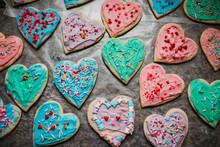 Colorful Heart Shaped Valentines Cookies With Sprinkles