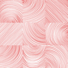 Vector Seamless Pattern. Red Curved Lines On White Background. Graphic Texture.