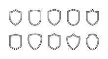 Shield Line Badges Set. Emblems Template For Prottection, Sport Club, Military And Security Coat Of Arms. Vector Illustration