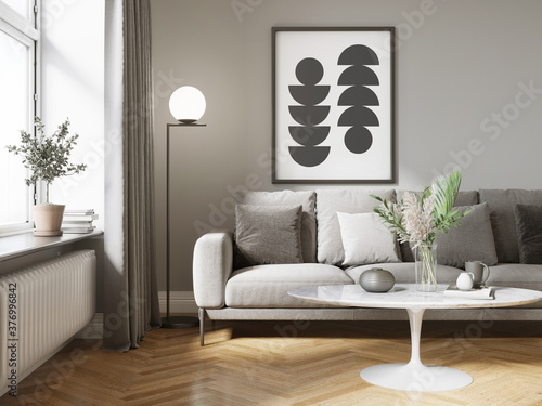 3d render of a cosy living room with a grey sofa an art canvas and a white table