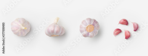Fotografija Garlic set on white background