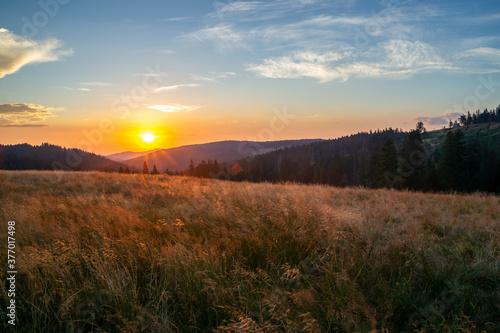 W sercu Gorców widok z łąki pod Czołem Turbacza wschodzące nad Gorcem słońce