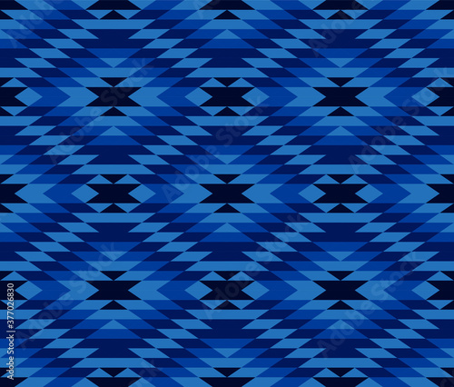 Tribal and ethnic pattern in blue geometric triangle, seamless vector abstract b Wallpaper Mural