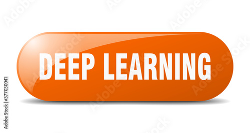 Cuadros en Lienzo deep learning button. sticker. banner. rounded glass sign