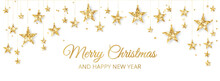 Holiday Banner With Golden Decoration. Christmas Glitter Border. Festive Vector Background Isolated On White. Garland With Stars. For Christmas And New Year Banners, Headers.