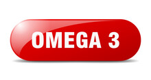 Omega 3 Button. Sticker. Banner. Rounded Glass Sign