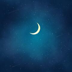 Obraz na płótnie Canvas 三日月と綺麗な夜空の風景イラスト