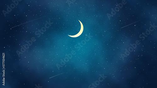 Obraz 三日月と綺麗な夜空の風景イラスト - fototapety do salonu
