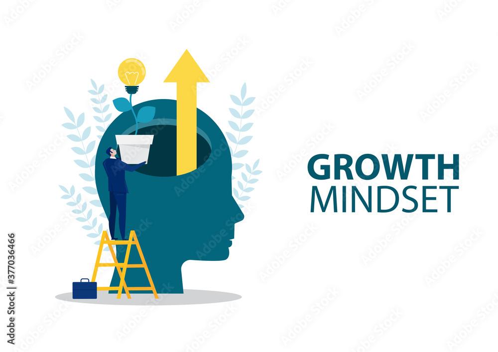 Fototapeta businessman holding light bulb for put think growth mindset different fixed mindset concept vector