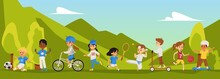 Physical Activity Of Children Outdoors In The Park Or In Nature Vector Flat Banner.