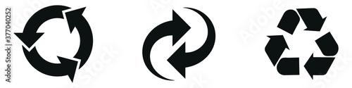 Obraz na plátne Recycling ,arrows icon set, rotate, Refresh, reload