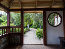 View From A Japanese Traditional Gazebo In The Park. Landscaping. Summer Sunny Day