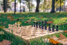 Wooden Chessboard And Pieces O...