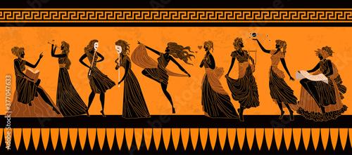Photo greek mythology muses Clio, Euterpe, Thalia, Melpomene, Terpsichore, Erato, Poly
