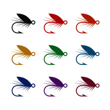 Fly Fishing Icon, Color Set