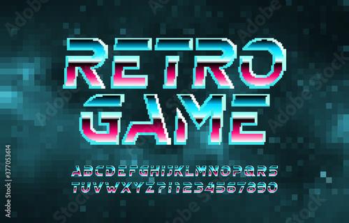 Retro Game alphabet font Billede på lærred