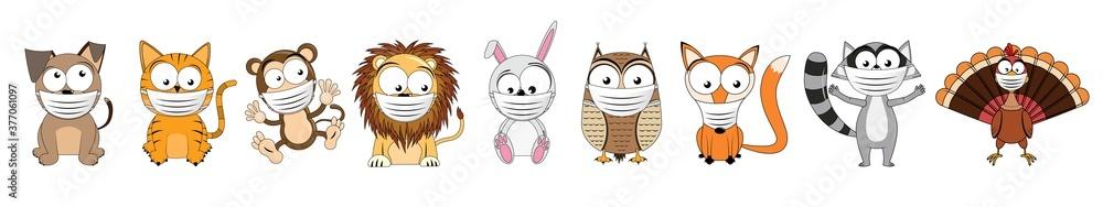 Fototapeta Caroon animals wearing face masks - vector illustration