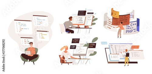 Set of programmers working on web development on computers. Concept of script coding and programming in php, python, javascript, other languages. Software developers. Flat vector cartoon illustration.