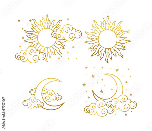 Tablou Canvas Mystical golden boho tattoos with sun, crescent, stars and clouds