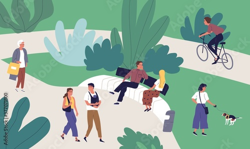 Relaxed tiny people enjoying summer outdoor recreational activity vector flat illustration. Man, woman, couple and family walking, talking, riding bicycle, spending time together at urban park - 377071800