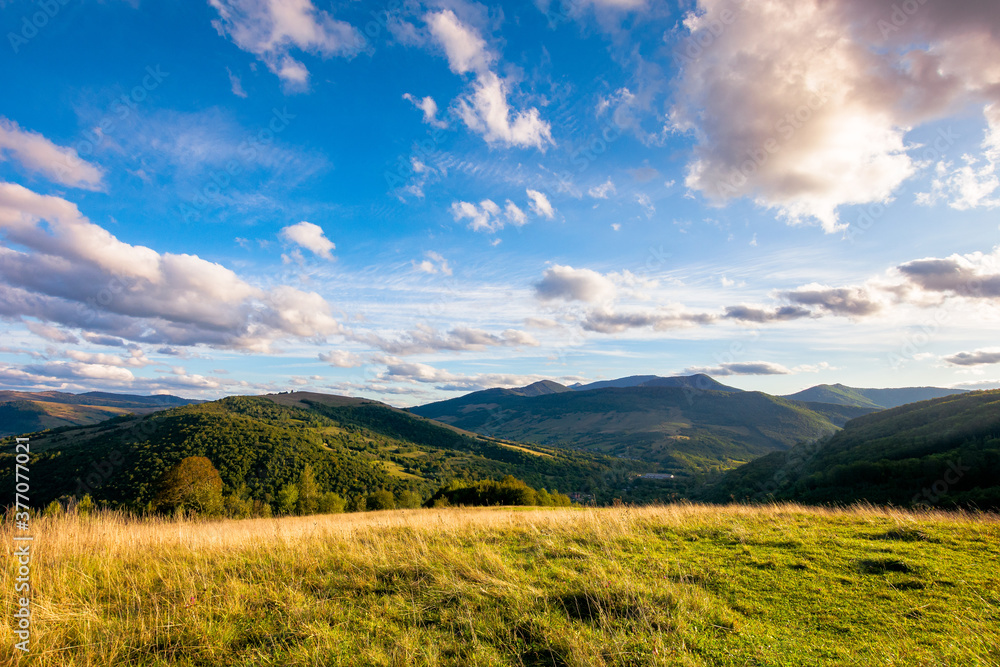 Fototapeta rural landscape in mountains at sunset. grassy pasture on the hill in evening light. high mountains in the distance. beautiful clouds on the blue sky. wonderful early autumn scenery