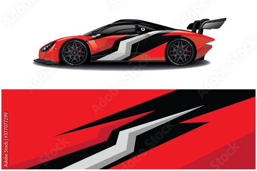 Fotografie, Tablou Sports car wrapping decal design