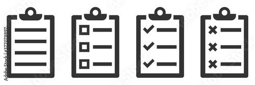 Fototapeta Paper document icons. Vector Checklist icons isolated. obraz