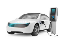 Electric Car Next To The Charging Station. 3d Render On White Background.
