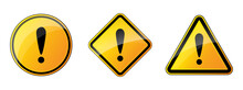 Set Of Warning Signs. Danger Icons With Exclamation Point