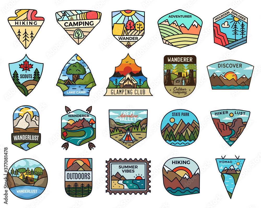 Fototapeta Camping adventure badges logos set, Vintage travel emblems. Hand drawn stickers designs bundle. Discover, state park, scouts labels. Outdoor camper insignias. Logotypes collection. Stock vector.