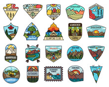 Camping Adventure Badges Logos Set, Vintage Travel Emblems. Hand Drawn Stickers Designs Bundle. Discover, State Park, Scouts Labels. Outdoor Camper Insignias. Logotypes Collection. Stock Vector.