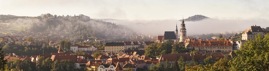 Morning view of the historic town of Cesky Krumlov