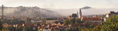 Obraz na plátně Morning view of the historic town of Cesky Krumlov