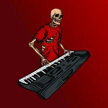 Artwork Illustration And T-shirt Design Skeleton Keyboardist Premium Vector